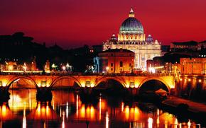 Picture The evening, Lights, Bridge, River