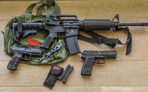 Picture guns, bag, knives, Machine, m4a1, heckler & koch
