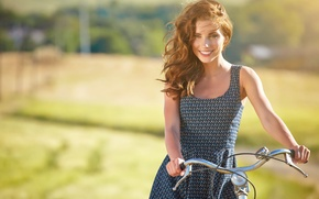 Picture summer, girl, joy, bike, smile, mood, stay, relax, romance, positive, blur, walk, picnic, beautiful, bike, …