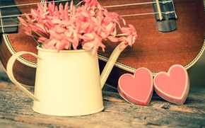 Picture flowers, heart, love, vintage, heart, romantic, ukulele
