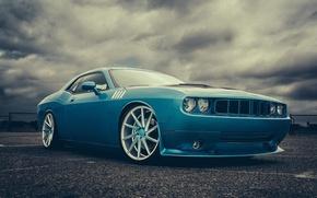 Picture blue, Dodge, Challenger, muscle car, Dodge, blue, muscle car, front, Challenger, Vossen Wheels, Doc Fluty