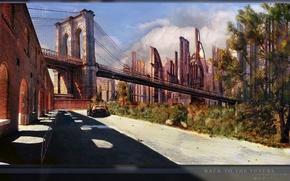 Picture bridge, the city, fiction