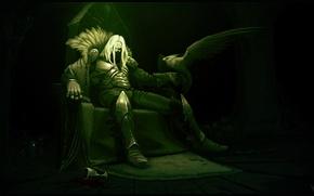 Picture bird, blood, glass, warrior, Art, the throne