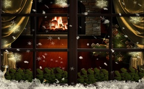 Picture Christmas, fireplace, snowflakes, tree, window