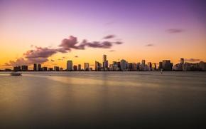 Picture sunset, the ocean, Miami, the evening, FL, Miami, florida, vice city