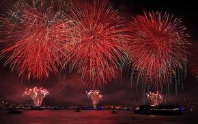 Picture night, lights, Strait, salute, fireworks, Turkey, The Bosphorus, Republic Day