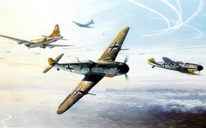 Picture ART, painting, aviation, WW2, WAR, bf 190