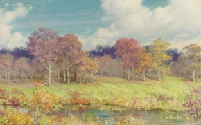 Picture autumn, forest, river, Charles Curan
