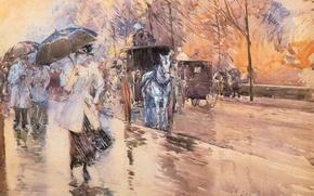 Wallpaper Frederick Childe Hassam, impressionism, people, picture, rain