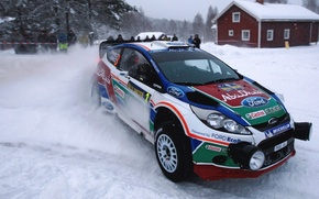 Picture Ford, Winter, Auto, Snow, Sport, Machine, Race, The hood, Skid, Lights, WRC, the front, Rally, …