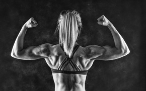 Picture woman, muscle, back, bodybuilder