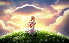 Picture grass, clouds, joy, flowers, hill, meadow, art, girl, dandelions
