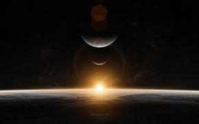 Picture stars, sunrise, planet, sunrise, mundane