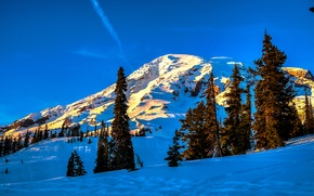 Picture winter, the sky, snow, trees, mountains, spruce, slope