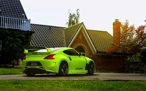 Picture green, Nissan, 370z, vossen wheels, rearside