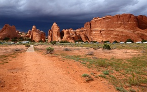 Picture the sky, rocks, Utah, USA, cars, arches national park