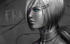 Wallpaper black and white, figure, girl, art, eyes, rilun, monochrome