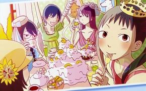 Picture holiday, crown, sweets, cake, art, fun, friend, Bakemonogatari, History of monsters, Hitagi Senjougahara, Thus, For …