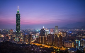 Picture the sky, night, the city, lights, view, building, tower, height, home, lighting, panorama, China, Taiwan, …