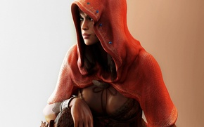 Picture girl, red, art, hood, Resident Evil 5, Sheva Alomar