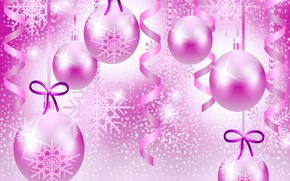 Picture holiday, Christmas, vector, ball, bow, serpentine, snowflake