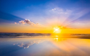 Picture reflection, beach, sea, wave, mirror, sunrise, the sun, horizon, clouds