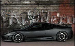 Wallpaper grey, machine, TuNero, F430, Ferrari, Graffiti