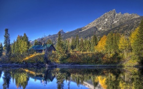 Picture forest, water, trees, mountains, lake, Park, reflection, house, USA, Grand Teton