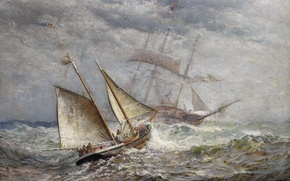 Picture sea, storm, sailboat, picture, painting, James Gale Tyler