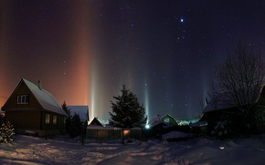 Picture the snow, houses, snow, winter, trees, lights, night, village, the sky, stars