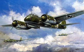 Picture figure, art, Junkers, multi-purpose aircraft of the Luftwaffe, heavy fighter scout, Ju-88C6