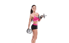 Picture girl, smile, figure, sports, dumbbells