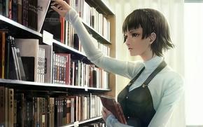 Picture girl, books, anime, art, persona, live said makoto, namako mikan