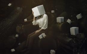 Picture conceptual, Creative Block, floating, pocket wizards, self portrait