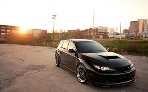Picture the sky, the sun, Subaru, Impreza, black, black, Blik, Subaru, Impreza