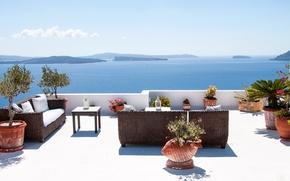 Picture sea, mountains, sofa, stay, Villa, vacation, chair, Santorini, Greece