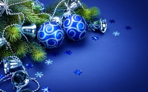 Wallpaper balls, toys, new year, holiday, bells