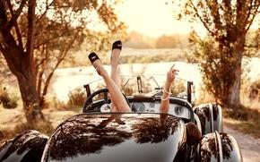 Picture girl, retro, feet, coupe, stylish, retrokar, Oldtimer