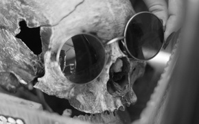 Picture skull, glasses, HUDGRAF