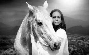 Picture girl, portrait, friendship, horse