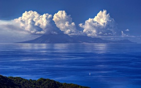Wallpaper sea, the sky, clouds, mountains, sailboat