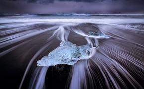 Picture sea, wave, beach, shore, ice, Iceland, the glacial lagoon of Jökulsárlón