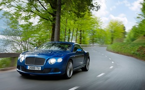 Picture Auto, Bentley, Continental, Road, Blue, The hood, Day, Coupe, The front