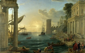 Picture sea, the sky, landscape, the city, people, boat, picture, The Embarkation of the Queen of …