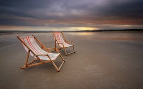 Picture sea, landscape, sunset, chairs