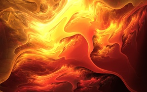 Picture line, abstraction, lava, fiery colors