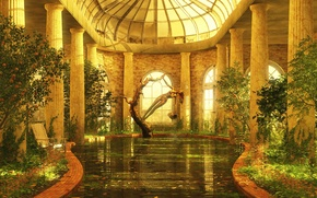 Picture water, trees, castle, interior, pool, art, columns, statue, citrus, the room