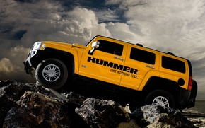 Picture clouds, stones, Hummer