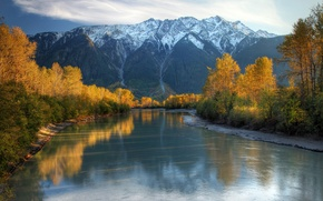Picture autumn, the sky, snow, trees, mountains, river