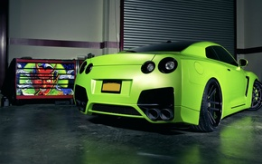 Wallpaper green, tuning, garage, Matt, Nissan, GT-R, green, devil